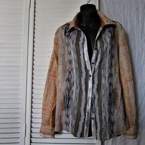 Elie Tahari multi color cotton blouse large